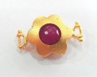 14 mm  Fuschia Pink Connectors , Gold Plated Brass Bezel  G1202