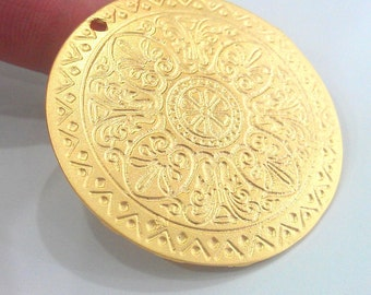 Gold Pendant Gold Plated  Metal Medallion  Pendant  46 mm G2162