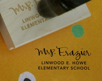 """Personalized Teacher Stamp - Teacher and School Name - rubber stamp with wood handle - 1"""" x 2"""""""