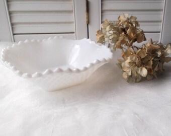 Vintage Milk Glass Ruffled Edge Bowl White Hobnail Milkglass Rustic Farmhouse Wedding Candy Dish