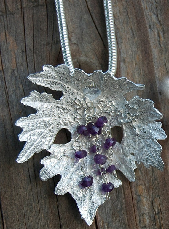 silver leaf necklace, grapes, Napa Valley, wine tasting, amethyst, grape vines