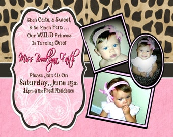 Leopard and PINK  Birthday or Baby Shower Invitation with 3 photos