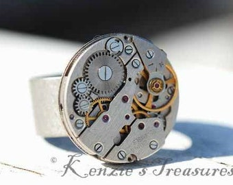 Steampunk Ring ~ Vintage Russian Watch Movement ~ Adjustable for Men or Women