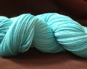 Worsted yarn, Merino single ply, hand dyed, light turquoise, Surf