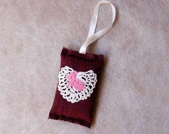 Crochet Rabbit Decor, Wall or Door Decoration, Woodland Nursery, Rustic, Miniature Hanging Pillow, Nursery Wall Art Decor