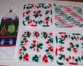 Christmas Kitchen Set Christmas Dishcloths Potholder Hanging Crochet Towel Topper Hot Pad Holiday Kitchen Towel Set
