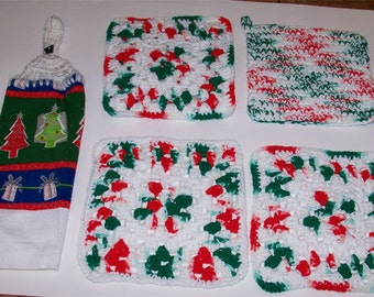 Christmas Kitchen Set Christmas Dishcloths Potholder Hanging Crochet Towel Topper Hot Pad Holiday Kitchen Towel Set