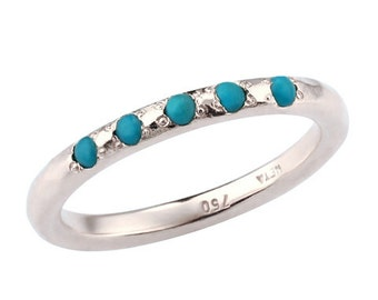 December Birthstone, Turquoise Birthstone Ring, Classic Turquoise 18k Gold Engagement Ring, Turquoise Engagement Ring