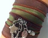 A Little Birdie Told Me-- Silk Ribbon Wrap Bracelet *Reserved for Katy*
