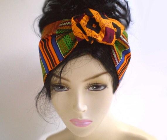Orange Green African Head Scarf African Head Wrap African