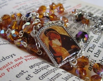 Our Lady of Perpetual Help - Handmade Czech Glass Rosary
