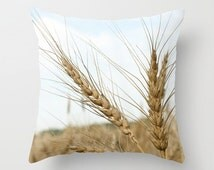 Wheat Grass Pillow Cases, Mens Gift for Farmer, Blue Man Cave Farmhouse Decor, Beige Rustic Bench Throw Cushion Covers, Dad Birthday Present