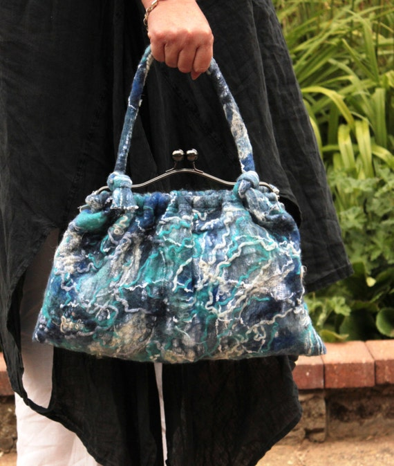 Blue handbag purse - Hand nuno felted linen and wool in blue white turquoise navy ...OOAK Art to Wear