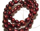 Fresh Water Pearl Beads - 6mm x 5mm Potato - 59 Beads -  Beautiful Deep Ruby Red Maroon Color Enhanced