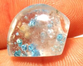 Paraiba Quartz Gemstone Cabochon Very Rare Also Called Medusa Quartz Amazing Floating Blue Dots Handmade Free Form Designer Cut