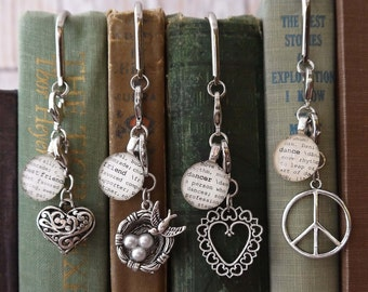 Bookmark Best Friend, Friend, Dancer, or Dance with Silver-tone Heart Charm, Bird's Nest Charm, Peace Sign Charm by Kristin Victoria Designs