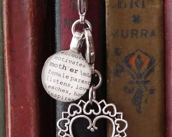 Mother, Daughter or Family Personalized Bookmark with Scroll Heart, Puff Heart, Tree for Aunt, Cousin, Sister by Kristin Victoria Designs