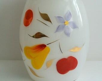 RETRO-70's Milk Glass Hand-painted Cookie Jar-Biscuit Jar
