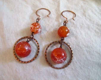 Embers-Copper and Cracked Agate Drops earrings