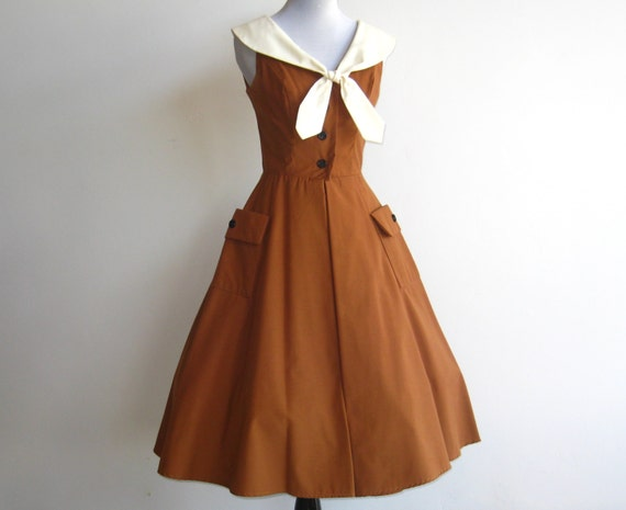 Vintage 70s Does 50s Dress Full Skirt Two Tone Cotton Sailor Doll Dress