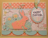 Handmade Easter Card with Bunny Silhouette and Flowers in Pastel Shades, Happy Easter Greeting, Special Easter Card, 50& Off