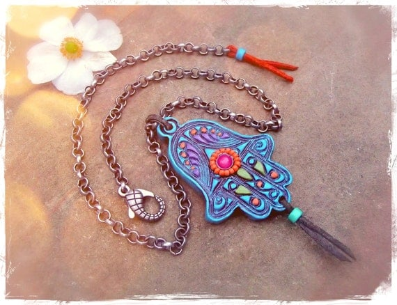 Reserved for Jas Boho HAMSA NECKLACE Turquoise Fatima HAND protective spiritual Statement necklace Hippie Bohemian unique large Hamsa GPyoga