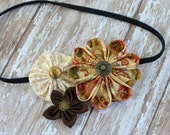 Chocolate and Cream Fabric Flower Trio Headband