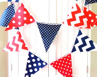Banner, Bunting Fabric Pennant Flags, Navy Blue, Red, White, Stars, Chevron, Polka Dots, Boy Nursery, Baby Shower, Patriotic Garland USA