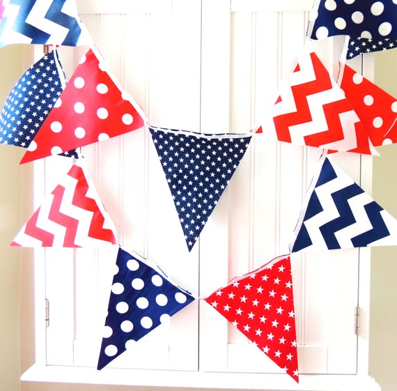 21 Fabric Flag Bunting, 9 Feet Banner, Navy Blue, Red, White, Stars, Chevron, Polka Dots, Boy Nursery, Baby Shower, Patriotic Garland U.S.A.