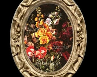 Oval Floral Flowers Miniature Dollhouse Art Picture 6753