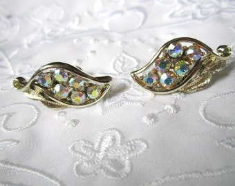 Vintage Silver Tone Screw Back Earrings with Leaf Design and Aurora Borealis Rhinestones
