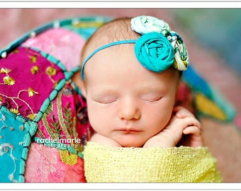 Aquality triple rosette headband in shades of aqua and teal