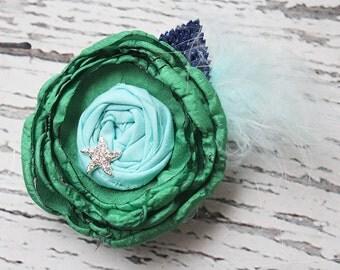 Star Light, Star Bright -green navy and sky aqua blue singed satin and rosette headband M2M Matilda Jane Constellation Dress