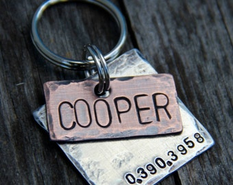 Custom Dog Tag / Pet ID Tag, Cooper, in Mixed Metal - Copper and Aluminum