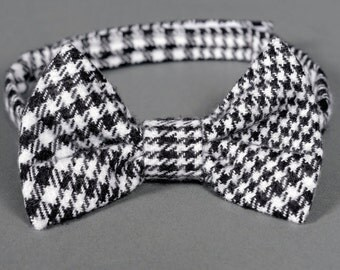 SALE 50% OFF Boys bow tie black and white check plaid- Little Lukey