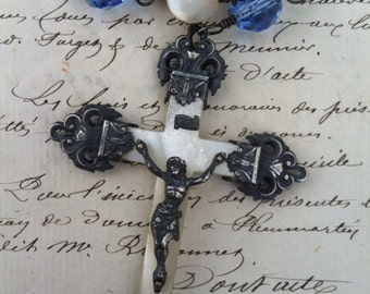 SACRED TREASURES - Terrific Rosary-Style Necklace with Antique Mother of Pearl, Blue Glass and Antique French Cross