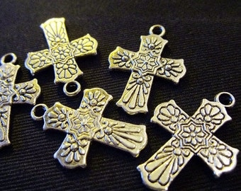 Destash (5) Beautiful Mexican Cross Charms - for pendants, jewelry making, crafts, scrapbooking