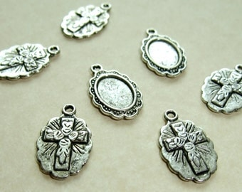 Destash (10) Small Religious Pendant Cameos - for pendants, jewelry making, crafts, scrapbooking