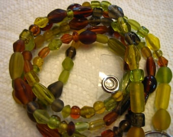 724 Glass Green and Brown handmade Beaded Lanyard id badge-Ladies lanyard-Mens lanyard-Womens id badge-