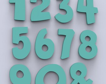 """3"""" Children's Wood Names Nursery Wall Decor Numbers Custom Made and Painted."""