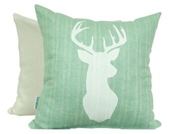 White Deer Print, on Turquoise