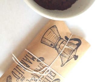 RESERVED // Coffee Favors. Set of 25 with custom stamp. Freshly roasted coffee-Grounds for celebration!