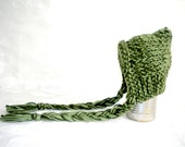 Preemie to Newborn Baby Pixie Elf Hat Knitted Baby Girl or Boy in Olive green Yarn MACHINE WASHABLE