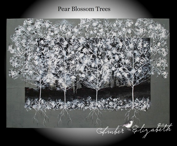 Fine Art Giclee Print of Original Painting Pear Blossom Trees Amber Elizabeth Lamoreaux Surreal Art Black and White Tree Modern Art