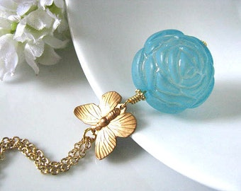 Butterfly Necklace, Flower Necklace, Vintage Style Raw Brass Butterfly With Soft Blue Matte Frosted Round Rose Flower Necklace, Shabby Chic
