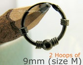 Mens Wire Hoop Earrings or Ear Cartilage Earrings - Black Gold Plating - over 925 Sterling Silver - Wire (no. 556B 556R)