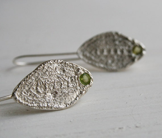 spring lace leaves - delicately textured dangle earrings, with flush-set natural peridot stones