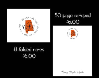 Personalized Auburn Note cards or Note Pads...your choice