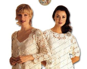 Cardigan Jacket and Top - Vintage Digital Crochet Pattern for Women - PDF Instant Download - PrettyPatternsPlease
