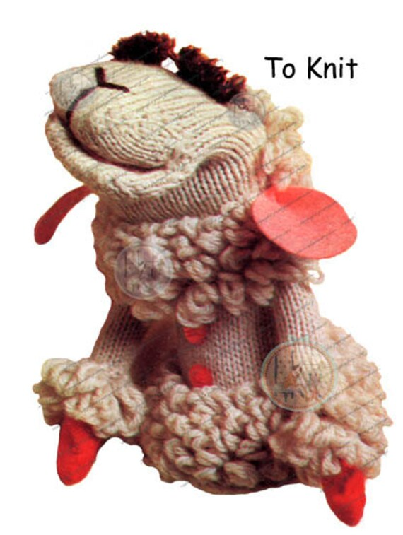 Lamb Chop Puppet Pattern to Knit or Crochet - From Vintage - PDF Digital Inst...
